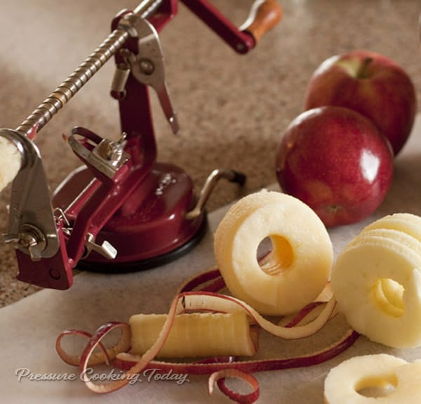 An apple corer makes quick work for peeling, slicing and coring apples.