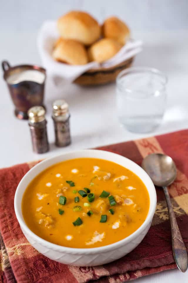 Smooth, creamy and delicious! The black and red pepper give this Pressure Cooker Butternut Squash Soup a little bit of heat and the half and half gives it great body and beautiful color.