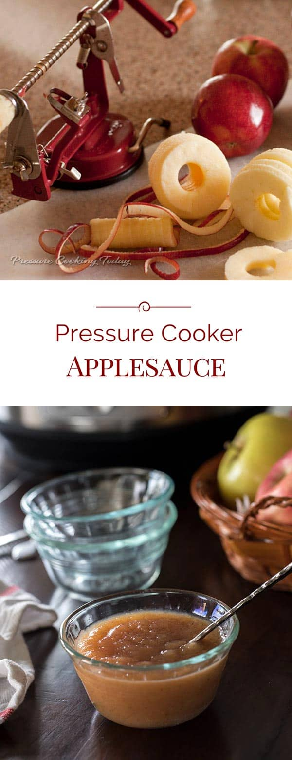 Pressure Cooker Applesauce is a healthy, sweet, delicious snack or dessert. We like to eat it as soon as it's cool enough to eat, but it's great at room temperature or even cold straight from the fridge.