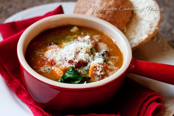 Pressure Cooker (Instant Pot) Minestrone Soup with Basil Pesto