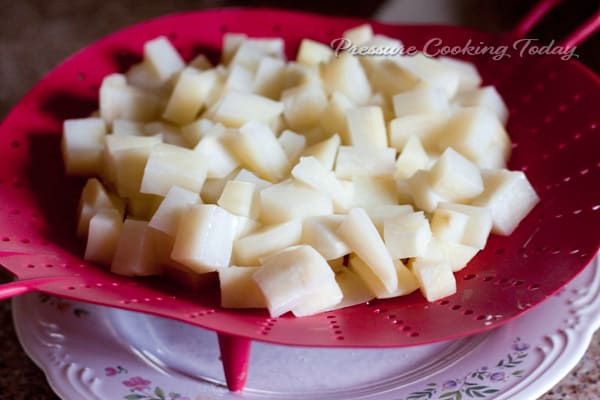 Diced potatoes for making Pressure Cooker Chunky Potato Cheese Soup