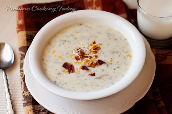 Pressure Cooker Potato Cheese Soup - smooth creamy and super quick and easy to make.