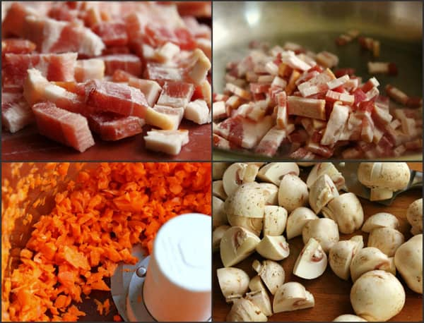 pictures of ingredients needed to make beef bourguignon in a pressure cooker