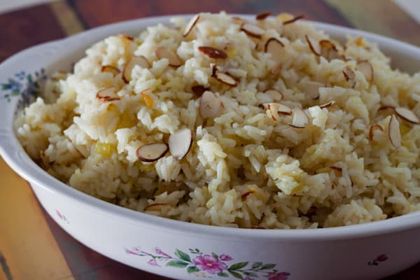 Saffron Almond Rice Pilaf | Pressure Cooking Today