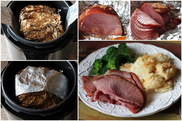 Steps Showing How to Heat Ham Slices in the Pressure Cooker