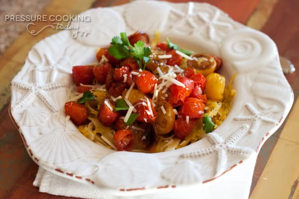 Spaghetti Squash with Roasted Balsamic Cherry Tomatoes by Pressure Cooking Today #pressure cooking #recipe