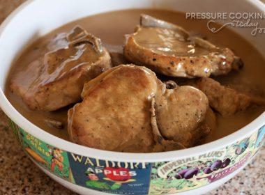 Easy Pressure Cooker (Instant Pot) Pork Chops in Mushroom Gravy