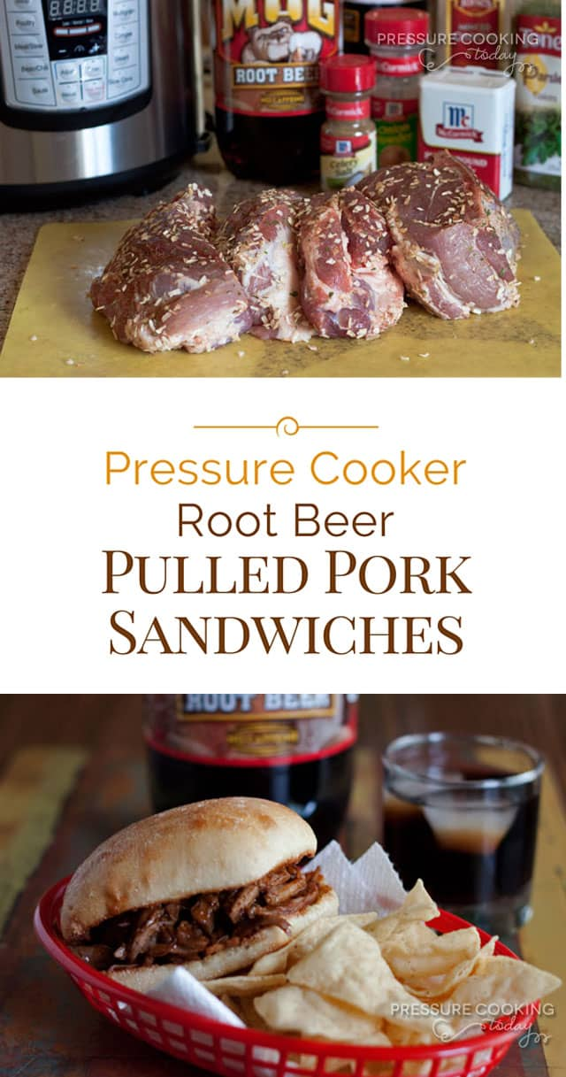 Tender pulled-pork in a sweet root beer barbecue sauce cooked in the pressure cooker for a slow cooked taste in a fraction of the time.