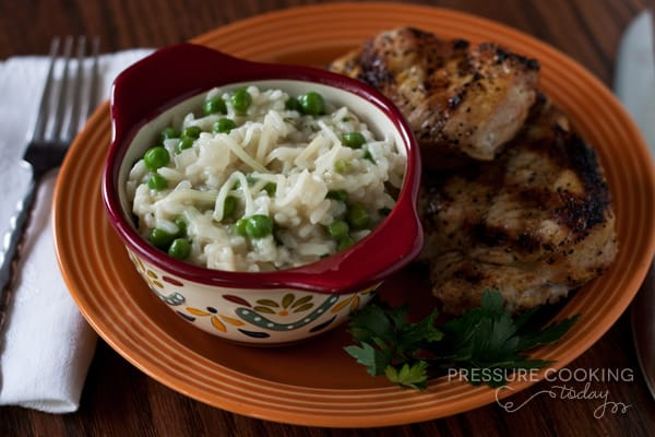 Pressure Cooker (Instant Pot) Lemon Parmesan Risotto with Baby Peas