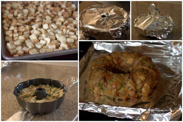 photo collage of the steps for making Pressure Cooker Stuffing