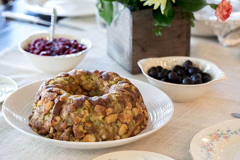 Pressure Cooker Stuffing made in a bundt pan