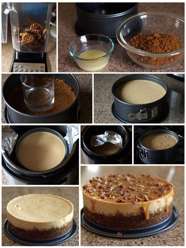 Pumpkin Caramel Pecan Cheesecake Collage | Pressure Cooking Today