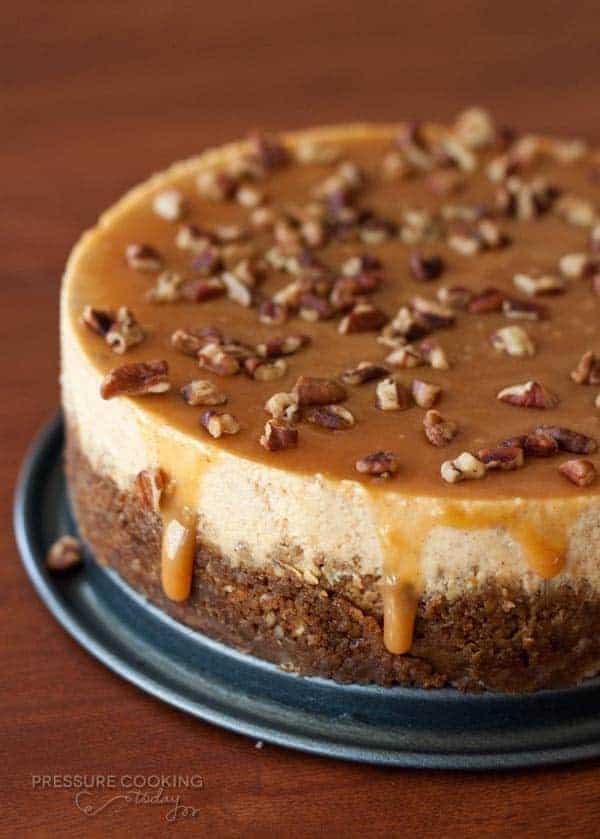 Pumpkin Caramel Pecan Cheesecake from Pressure Cooking Today