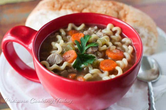 Turkey Noodle Soup from Pressure Cooking Today