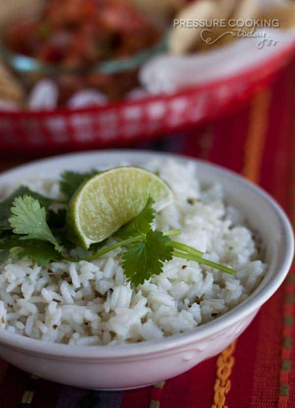 This Pressure Cooker Chipotle's Cilantro Lime Rice is perfect as a side dish with your favorite Mexican meal, or as the base of a burrito bowl the way they serve it at Chipolte's.