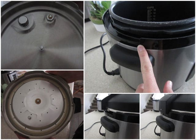 placing the lid onto an electric Cuisinart Pressure Cooker