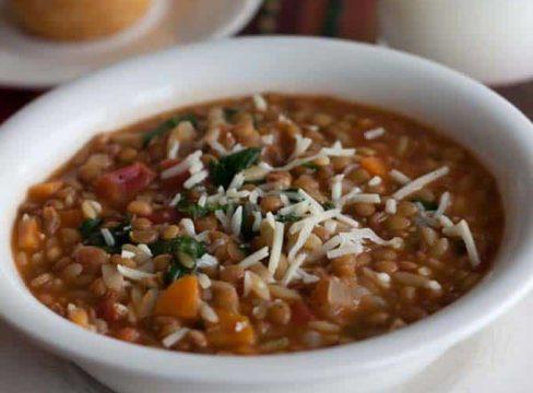 Pressure Cooker (Instant Pot) Lentil Orzo Soup