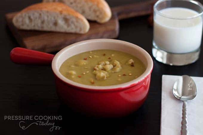 A creamy split pea soup spiced up with sausage and a little red pepper flakes.