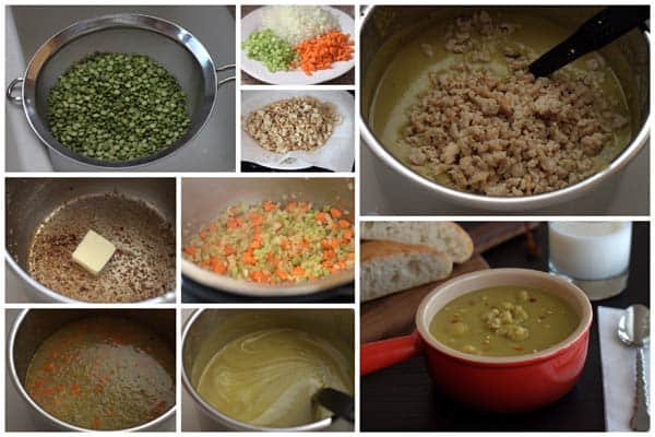 Making Split Pea Soup with Chicken Sausage