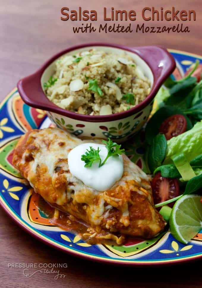 Salsa Lime Chicken with Melted Mozzarella - Chicken breasts braised in ...