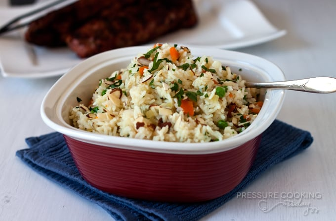 Easy to make Rice Pilaf with Carrots, Peas and Parsley