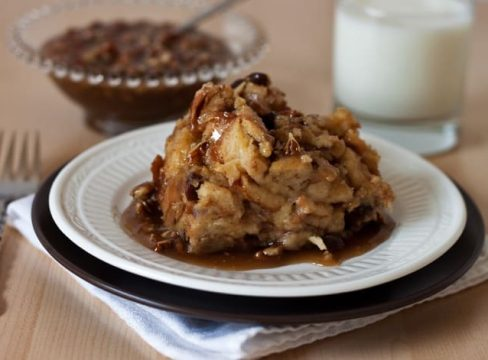 Pressure Cooker (Instant Pot) Cinnamon Raisin Bread Pudding with Caramel Pecan Sauce