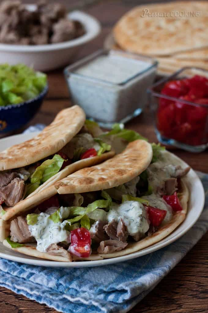Greek Tacos in a Pita from Pressure Cooking Today