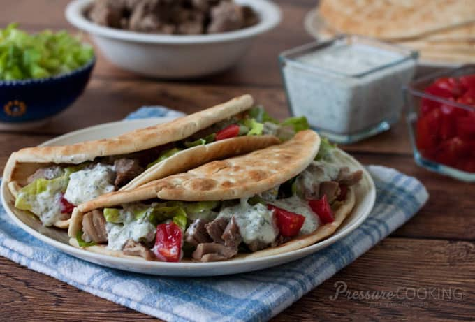 Pressure Cooker Greek Tacos from Pressure Cooking Today