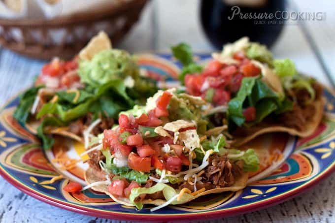 Copycat Cafe Rio Sweet Pork Tostada recipe in a fraction of the time from Pressure Cooking Today.