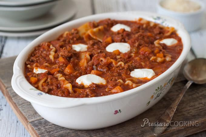 Pressure Cooker Sloppy Lasagna recipe