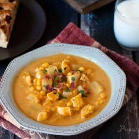 Pressure cooker pumpkin chicken corn chowder loaded with chunks of tender chicken, potatoes, and kernels of corn.