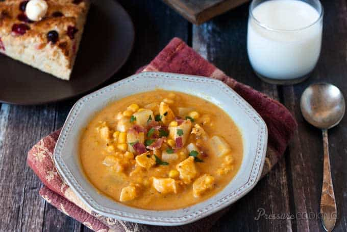 Make this Pressure Cooker Pumpkin Chicken Corn Chowder in your pressure cooker or Instant Pot.