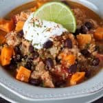 Pressure Cooker Black Bean Sweet Potato Quinoa Chicken Chili