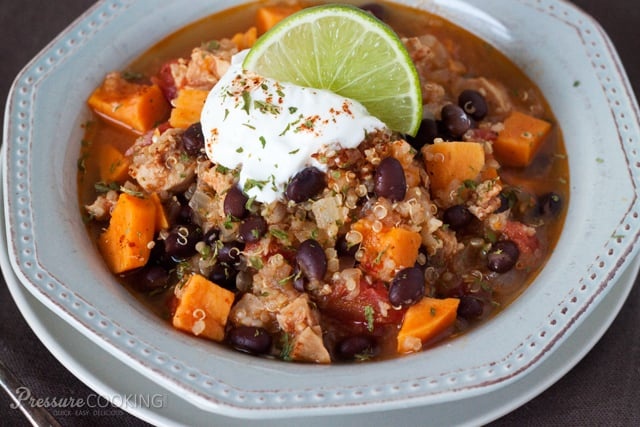 Black Bean Sweet Potato Quinoa Chicken Chili from Pressure Cooking Today