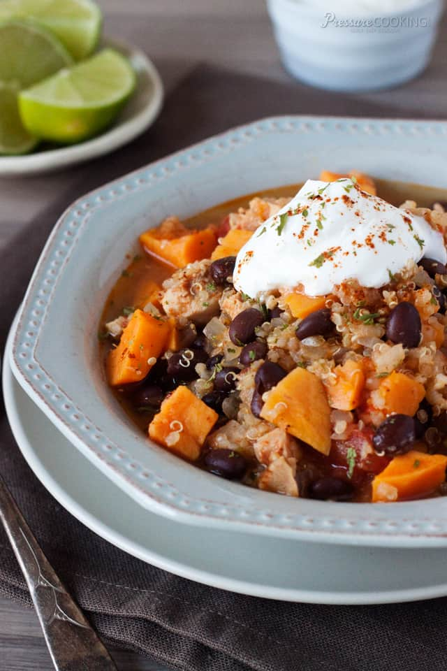 Black Bean Sweet Potato Quinoa Chicken Chili pressure cooker recipe from Pressure Cooking Today