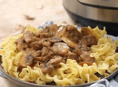 Pressure cooker beef stroganoff recipe from Pressure Cooking Today.