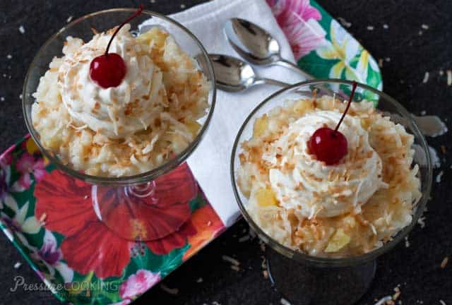 Pressure Cooker Pina Colada Rice Pudding