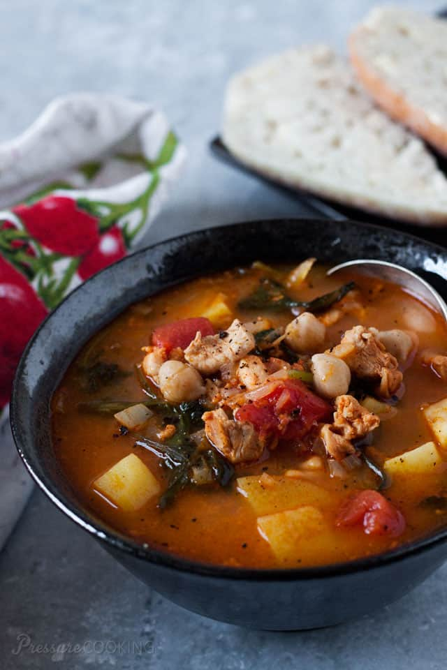 Pressure Cooker Chorizo, Chicken and Kale Soup is a spicy soup loaded with good for you ingredients, garbanzo beans, tomatoes, and kale.