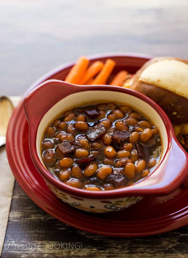 Baked beans in a sweet, smokey, sticky sauce perfect side dish for whatever you're grilling this summer.