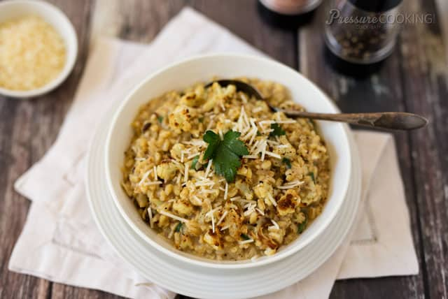 Pressure Cooker Roasted Cauliflower Barley Risotto