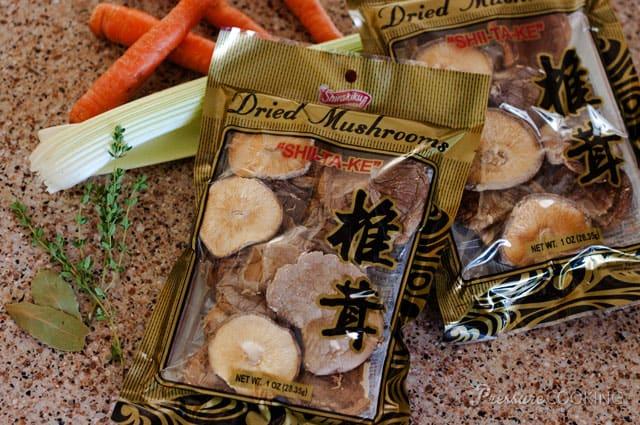 Pressure Cooker Shiitake Mushroom Stock Ingredients