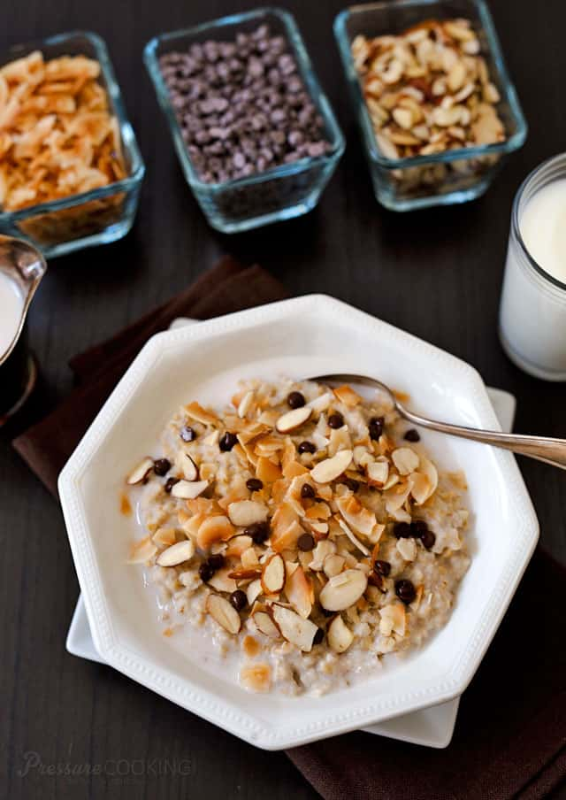Start your day with a little chocolate! This heart-healthy, creamy, delicious Pressure Cooker Almond Joy Steel Cut Oats recipe is quick and easy to prepare. It's topped with sliced almonds, toasted coconut and mini chocolate chips.