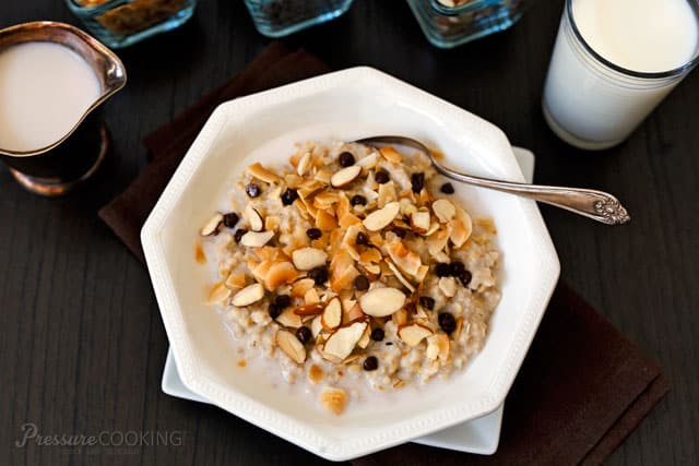Start the morning with some Pressure Cooker Almond Joy Steel Cut Oats