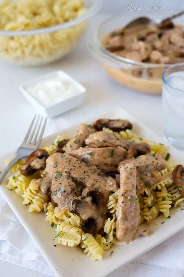 A Pressure Cooker Pork Stroganoff with tender strips of pork in a rich, creamy gravy that's kicked up a notch with a little chili sauce, dry mustard and sherry.