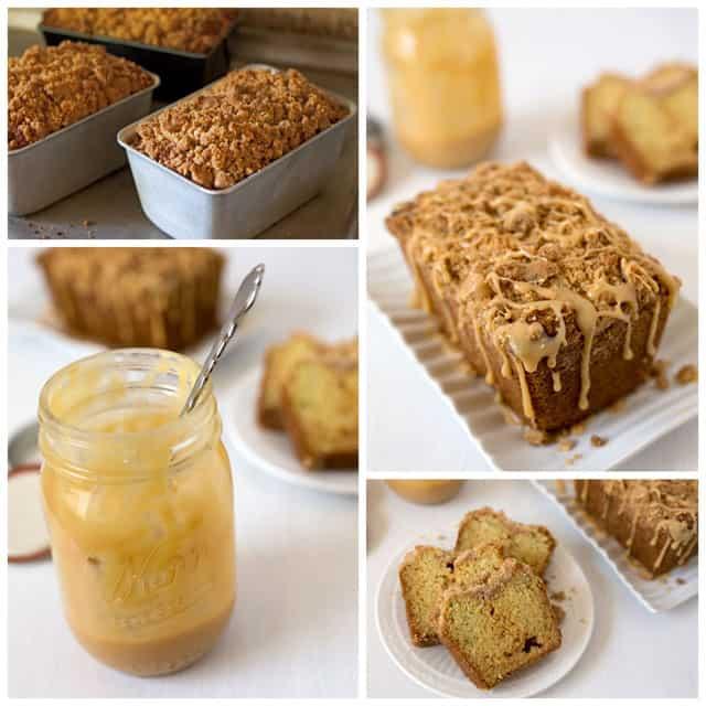 Crumb Topped Caramel Zucchini Bread with a Dulce de Leche swirl.