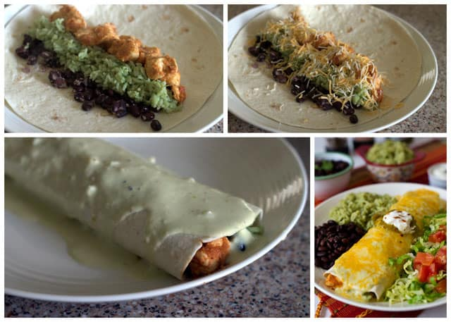 Chicken Tinga burritos filled with black beans, Mexican green rice, and smothered in a Tomatillo Cream Sauce.