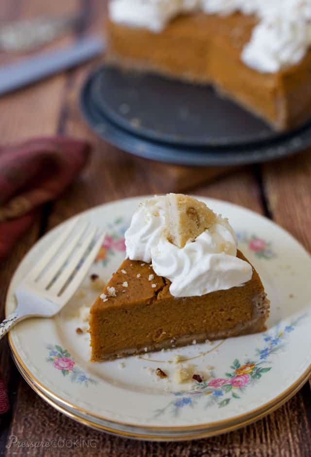 "This Pressure Cooker Pumpkin Pie has a classic pumpkin pie filling but in a crumbly Pecan Sandies cookie crust, and it's ""baked"" in the electric pressure cooker instead of the oven."