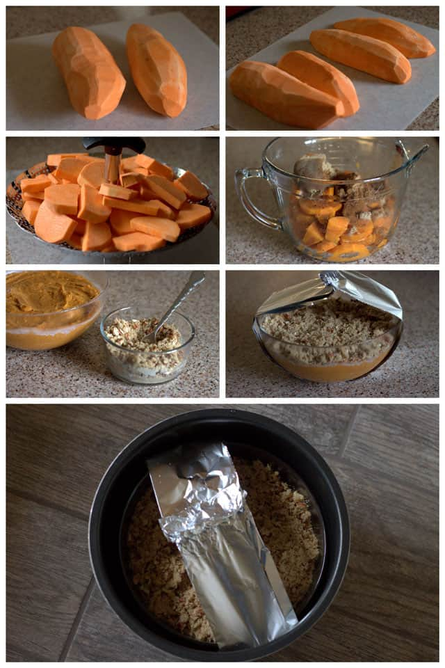 Making Pressure Cooker Sweet Potato Casserole