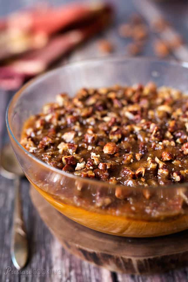Creamy sweet potatoes dressed up for Thanksgiving with a sweet, crunchy brown sugar pecan topping.