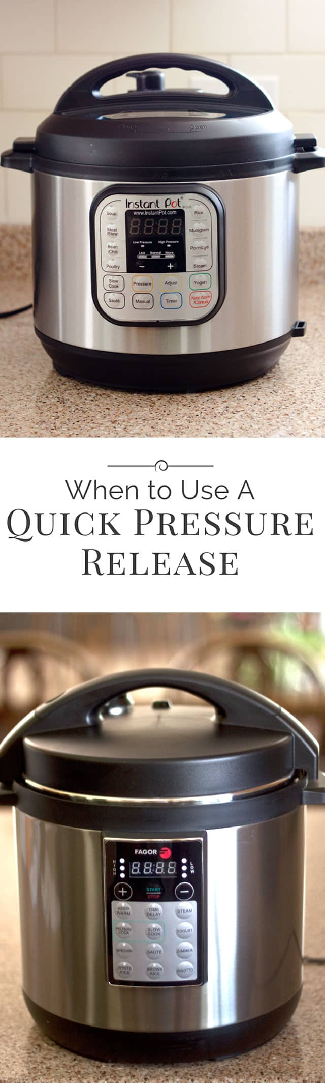 Quick pressure release or natural pressure release? Electric pressure cookers and multi-cookers like the Instant Pot have the ability to release pressure two ways. Here's the difference!